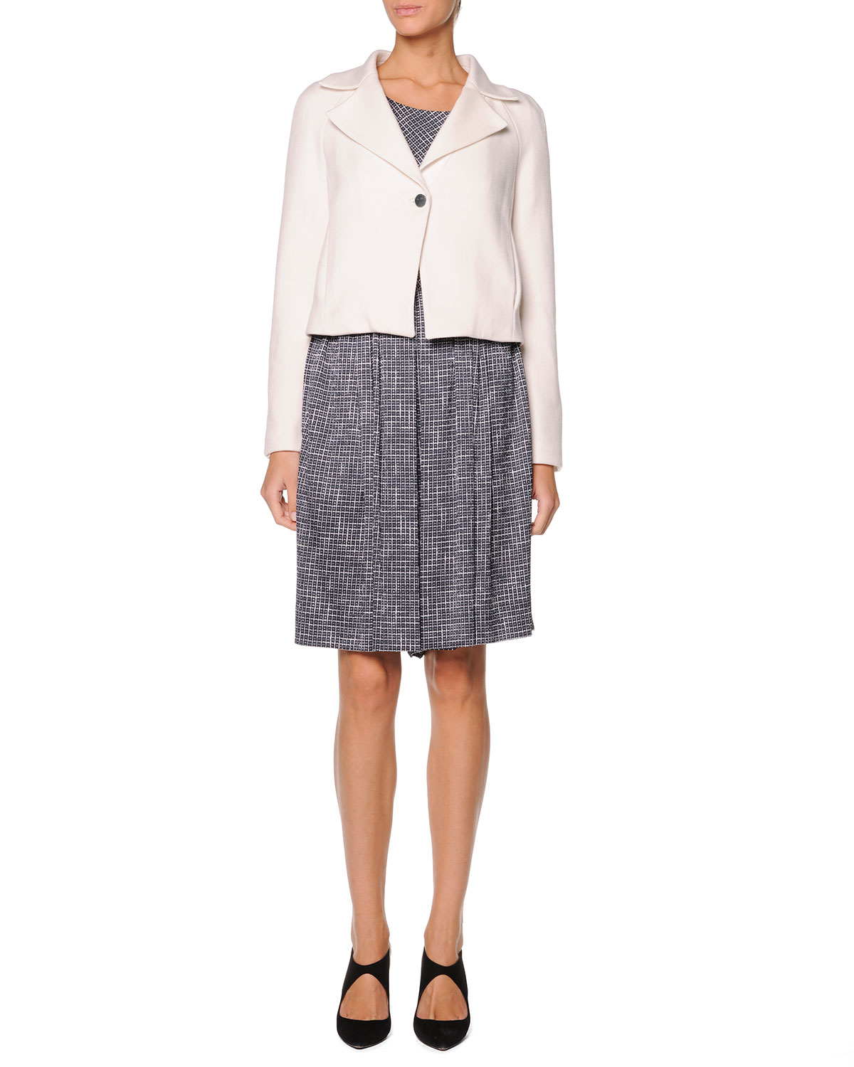 Single-Button Short Jacket, Sleeveless Printed Top & Printed Pleated Skort