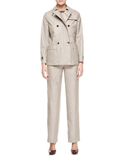 Giorgio Armani Micro Pied de Poule Coat, Pants & Striped Pocket Tee