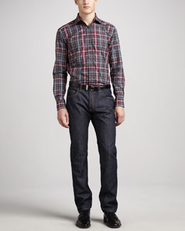 Etro Plaid Sport Shirt & Basic-Fit Denim Jeans