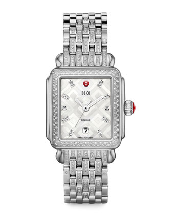 Deco Mosaic Geometric Diamond Watch Head & Taper 7-Link Bracelet Strap