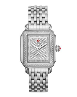 MICHELE Limited Edition Deco Diamond-Dial Watch Head & 7-Link Bracelet Strap