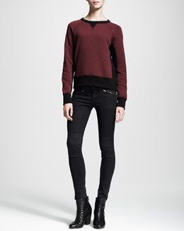 rag & bone/JEAN Colorblock Basic Raglan Sweatshirt & Ridley Mid-Rise Legging Jeans