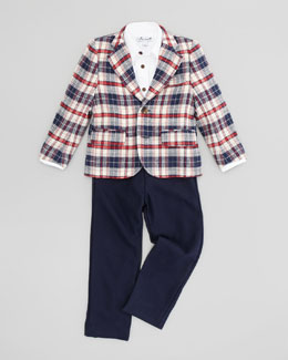 Busy Bees Mac Plaid Blazer, Dress Shirt & Alex Wool Pants