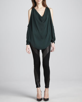 Draped Open-Shoulder Blouse & Leather-Panel Ponte Pants