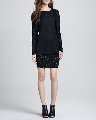 Sequin-Sleeve Blouse & Sequined Pencil Skirt