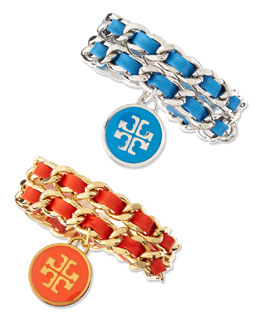 Tory Burch Leather Woven Chain Bracelet