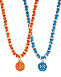 Tory Burch Leather Woven Chain Necklace