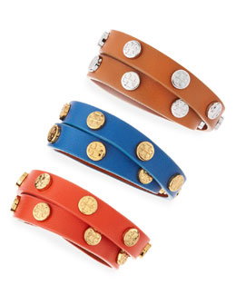 Tory Burch Logo-Studded Wrap Bracelet