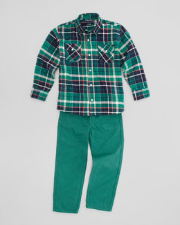 Oscar de la Renta Plaid Fisherman Shirt & Twill Jeans