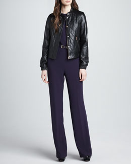 Trina Turk Antoine Quilted Leather Bomber Jacket & Jeanie Belted Crepe Jumpsuit