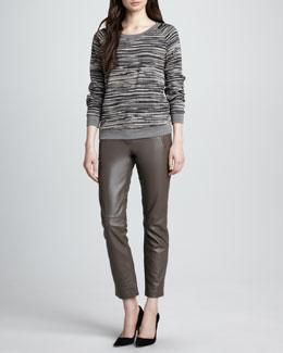 Trina Turk Darius Striped Ponte Sweatshirt & Straight-Leg Cropped Leather Pants