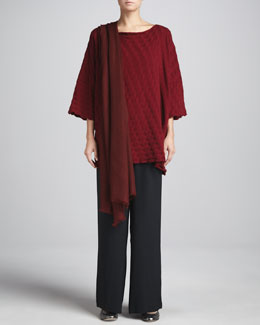 eskandar Square Long Top, Flared Trousers & Scarf