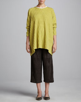 eskandar Bateau-Neck Poncho, Long-Sleeve Round-Neck Top & Suede Japanese Trousers