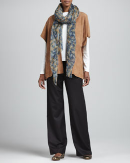eskandar Raw Edge Suede Tabard, Long-Sleeve Round-Neck Top, Drawstring Trousers & Large Silk Scarf
