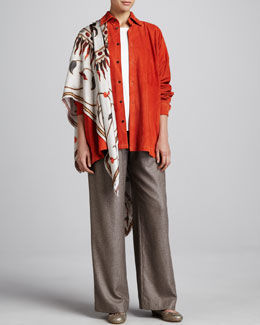 eskandar Long-Sleeve Round-Neck Top, Patch-Pocket Drawstring Pants & Mughal Square Shawl