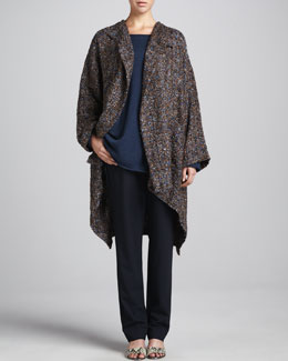 eskandar Hi-Low Jacket Coat, A-Line Bateau-Neck Sweater & Narrow Stretch Wool Trousers