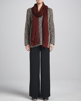 eskandar Bateau-Neck Sweater, Flared Trousers & Fine Large Scarf