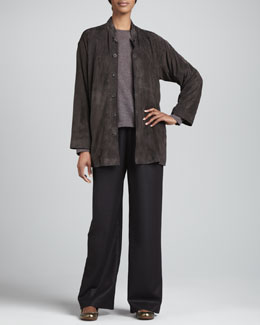 eskandar Slim A-Line Mandarin Jacket, Long-Sleeve Round-Neck Top & Drawstring Trousers