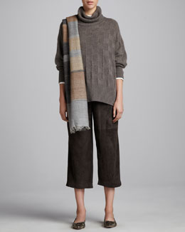 eskandar Roll-Neck Sweater, Long-Sleeve Top, Japanese Trousers & Geometric Weave Scarf