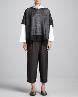 eskandar Open-Knit Caftan, Double-Collar Cotton Poplin Blouse & Japanese Trousers