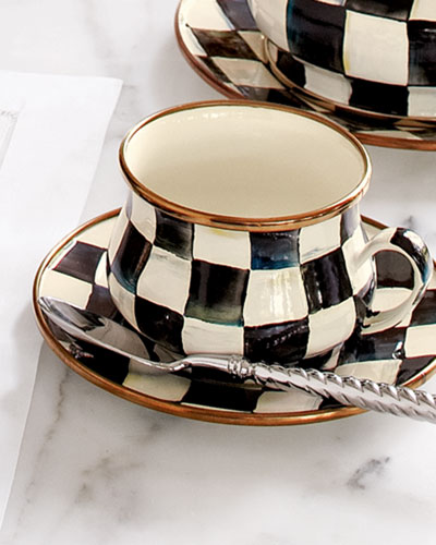 Courtly Check Enamel Teacup & Saucer