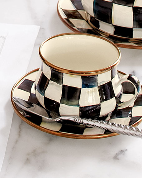MacKenzie-Childs Courtly Check 10-oz. Enamel Teacup