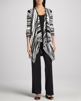 Neiman Marcus Striped Long Cardigan, Long Scoop-Neck Tank & Wide-Leg Pants