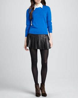 Alice + Olivia Roney Elbow-Patch Sweater & Box-Pleated Leather Skirt