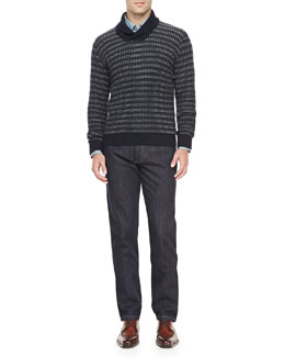 Ermenegildo Zegna Cashmere Shawl-Collar Sweater, 3-Ply Cotton Shirt & Roq Five-Pocket Jeans