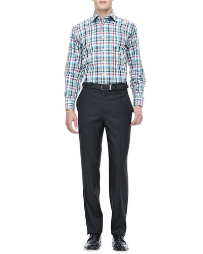 Peter Millar Amalfi Plaid Sport Shirt & Wool Dress Pants