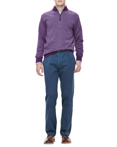 Peter Millar Cashmere One-Quarter Zip Pullover, Bengal Stripe Sport Shirt & Washed Twill Pants