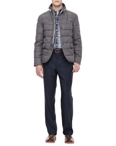 Peter Millar Quilted Hybrid Jacket, Herringbone Plaid Shirt & Italian Wool Pants