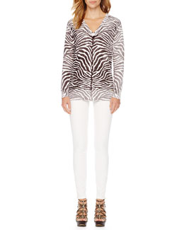 MICHAEL Michael Kors  Zebra-Print Faded Sweater & Zipper-Cuff Skinny Jeans