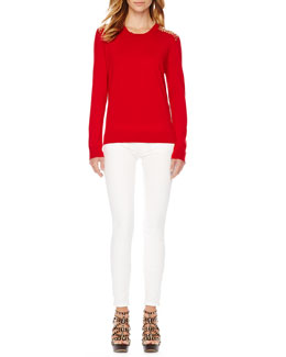 MICHAEL Michael Kors  Stud-Shoulder Knit Sweater & Zipper-Cuff Skinny Jeans