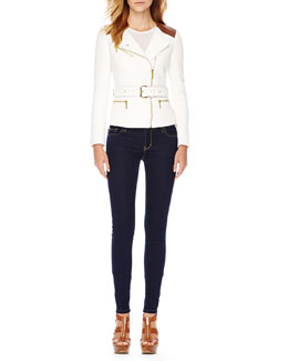 MICHAEL Michael Kors  Belted Tweed Moto Jacket & Jet Set Legging Jeans
