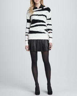 Alice + Olivia Sparrow Boat-Neck Sweater, Cathi Leather/Combo Top & Box-Pleated Leather Skirt