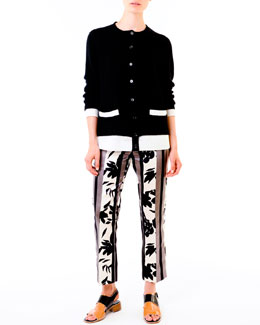 Marni Poplin-Back Knit Cardigan & Floral-Print Satin Pants