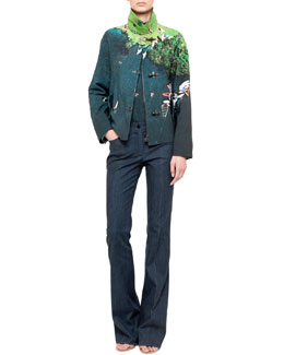 Akris punto Surfer-Print Jacket, Jersey Tank & Boot-Cut Denim Pants