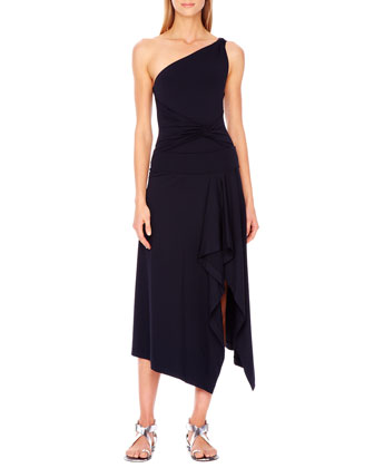 One-Shoulder Twist Maillot & Draped Coverup Skirt