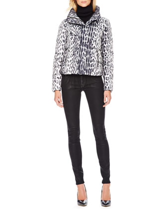 Cropped Printed Puffer Jacket & Waxed Skinny Jeans