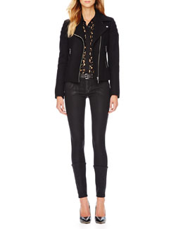 MICHAEL Michael Kors  Wool-Blend Motorcycle Jacket & Zip-Pocket Skinny Jeans