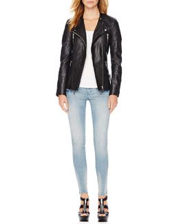 MICHAEL Michael Kors  Quilted Leather Jacket & Zip-Pocket Skinny Jeans