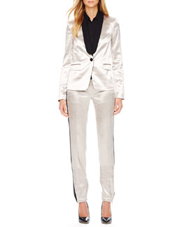 MICHAEL Michael Kors  Shiny Tuxedo Blazer, Long-Sleeve Blouse & Shiny Track Pants