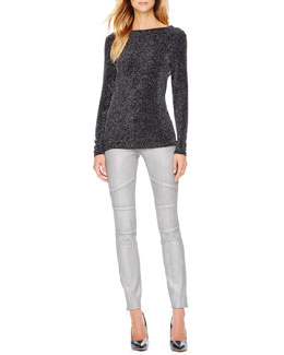 MICHAEL Michael Kors  Metallic Cowl-Back Sweater & Metallic Zip Skinny Jeans