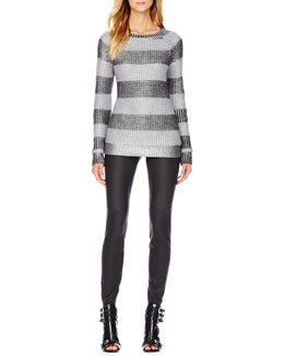 MICHAEL Michael Kors  Metallic Striped Sweater & Waxed Skinny Jeans