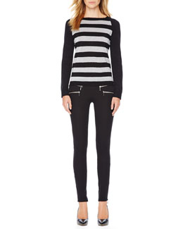 MICHAEL Michael Kors  Shimmery Striped Sweater & Zipper-Cuff Skinny Jeans