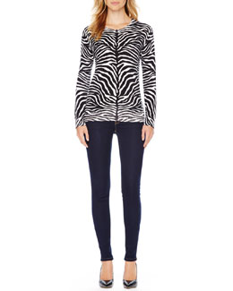 MICHAEL Michael Kors  Zebra-Print Knit Sweater & Jet Set Legging Jeans