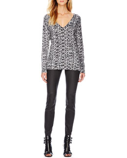 MICHAEL Michael Kors  Python-Print Knit Sweater & Stretch-Leather Skinny Pants