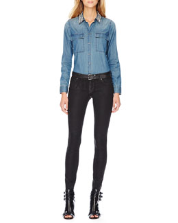 MICHAEL Michael Kors  Crystal-Collar Denim Shirt & Waxed Skinny Jeans