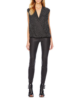 MICHAEL Michael Kors  Sequined Draped Jersey Top & Stretch-Leather Skinny Pants